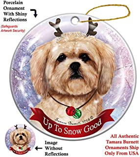 Holiday Pet Gifts Lhasa Apso Cream Dog Porcelain Christmas Ornament