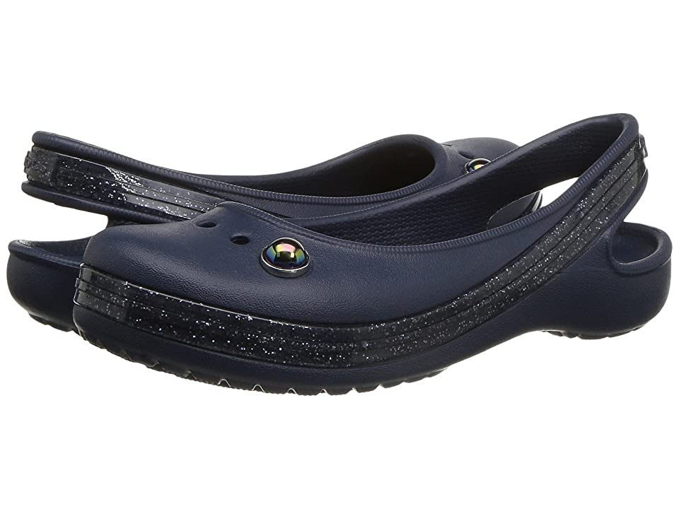 Crocs Kids Genna II Sparkle Band Sling (Toddler/Little Kid/Big Kid) (Navy) Girls Shoes