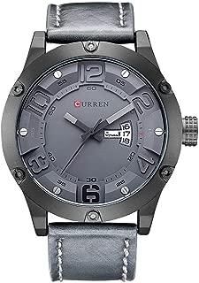 8251 (All Grey) Men's Sports Waterproof Leather Strap Date Good Quality Wrist Watch