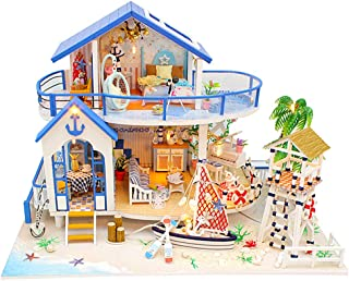 DIY Cabin Wooden Miniature Furniture Kit Handmade Dollhouse Miniature Villa with LED, Blue Beach, Best Valentine's Day and...