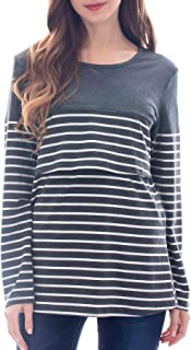 Smallshow Women's Maternity Nursing Tops Long Sleeve Striped Breastfeeding T-Shirt