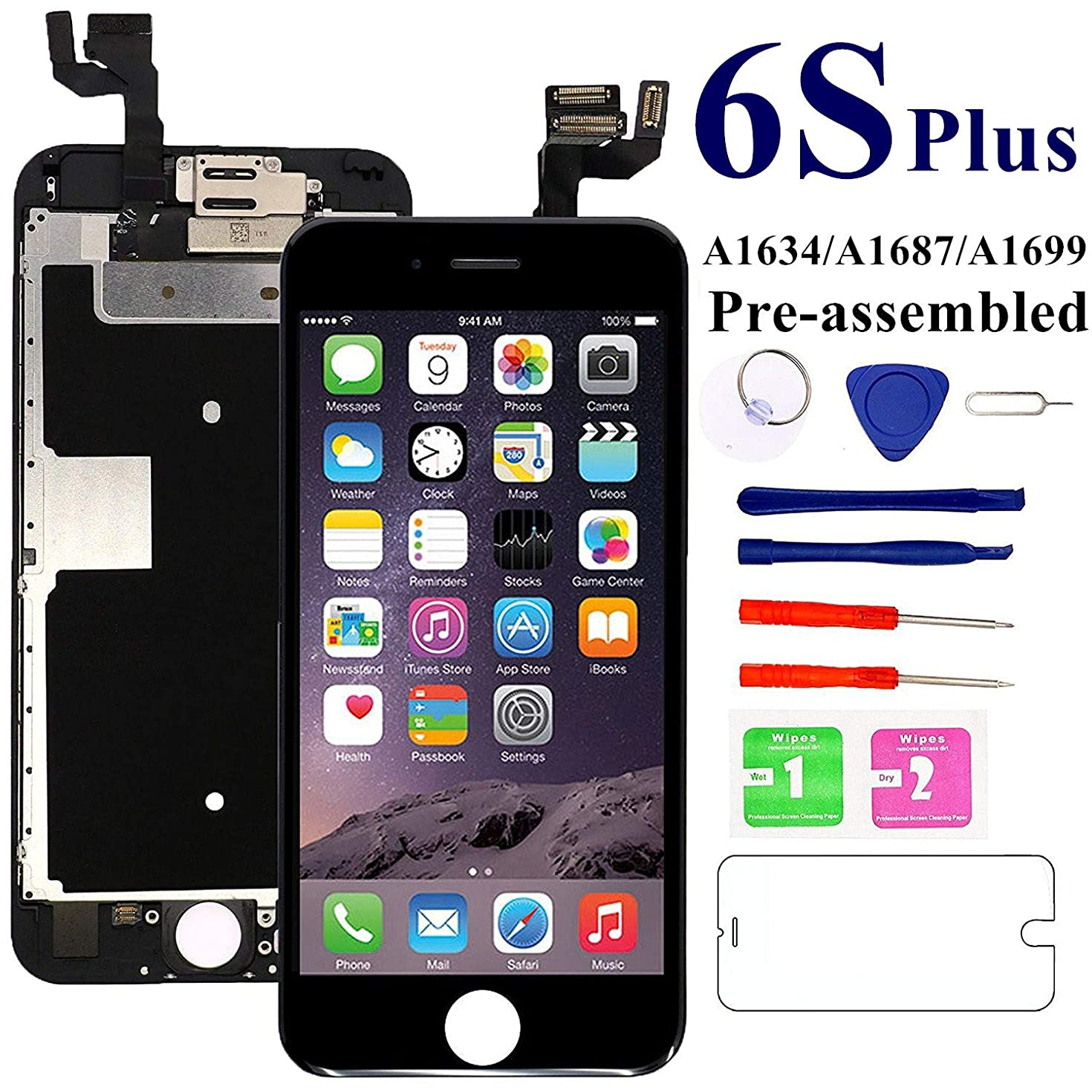 Screen Replacement for iPhone 6S Plus 5.5 inch [Black] - MAFIX LCD 3D Touch Display Digitizer with Ear Speaker, Light Sensors and Front Camera, Fit Model A1634, A1687 with Repair Tools and Protector