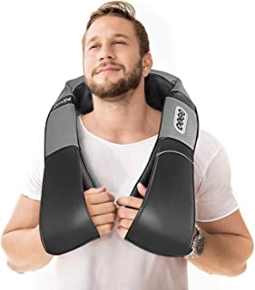 Shiatsu Back Shoulder and Neck Massager with Heat - Deep Tissue 3D Kneading Back Massager for Neck, Shoulders, Foot, Legs - Electric Full Body Pillow Massage, Relieve Muscle Pain - Home & car (Gray)