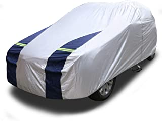 KAKIT Lightweight Car Cover Waterproof All Weather for Sedan, Polyester Sun UV Protection Windproof Universal Outdoor Car Covers for Automobiles with Driver Door Zipper, Fits up to 204''
