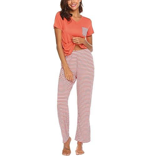 c16b5610a45b Hotouch Womens Pajama Set Striped Short Sleeve Top   Pants Sleepwear Pjs  Sets