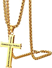 Cupimatch Philippians 4:13 Cross Pendant Necklace, Stainless Steel Strength Bible Verse Crucifix Jewelry with 22 inch Chain