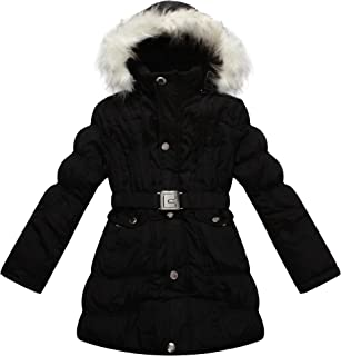 Big Girls' Padded Winter Jacket with Belt and Faux Fur Hood RH0784