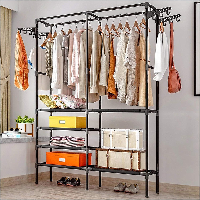 Clothes Hanger Coat Rack Floor Hanger Storage Wardrobe Clothing Drying Racks,Black