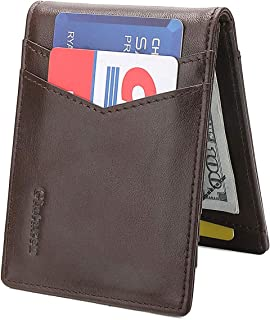 GintaXen Slim Genuine Leather Wallet for Men with Magnetic Money Clip and RFID Blocking