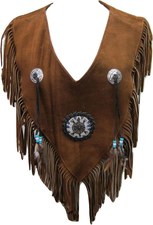 Bestzo Women's Fashion Western Fringed & Beaded Suede Leather Vest Brown XS5XL