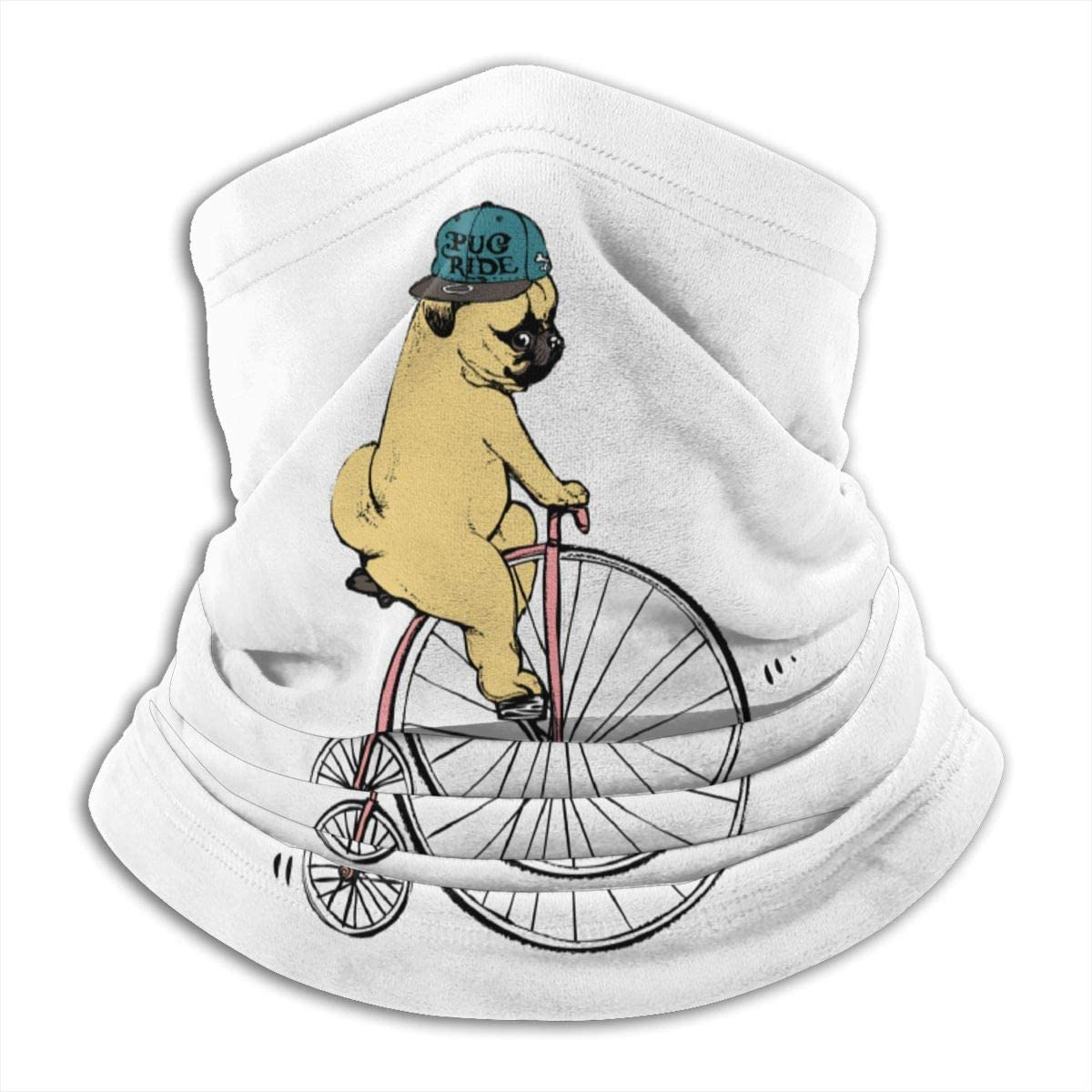 Pug And Unicycle Bicycle Black Multi-function Neck Warmer Gaiter Polyester Neck Warmer Windproof Winter Neck Gaiter Cold Weather Scarf For Men Women