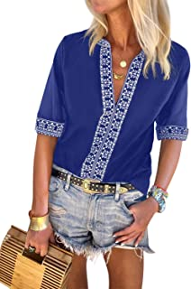 Womens Casual Boho Embroidered V Neck 3/4 Sleeves Shirts Loose Blouse Tops S-XXL