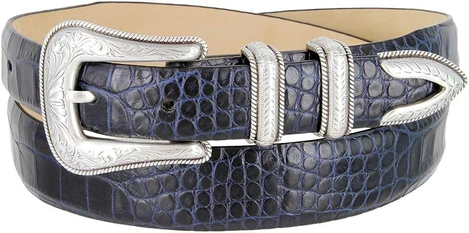 Cesar Silver Genuine Italian Calfskin Leather Designer Dress Belt for Women