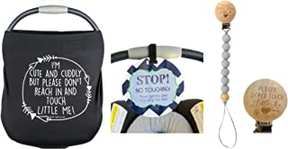 Newborn Baby Gift Bundle Set including a Car Seat Cover, No Touching baby car seat sign and a pacifier clip – the perfect gift for new mom