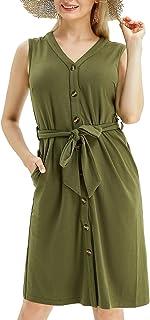 Atlxdres Women's Casual Dress V-Neck Sleeveless with Belt 2021 Plus-Size Pockets Increase Elasticity Lavender Dresses