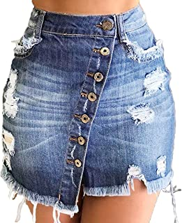 ECHOINE Women Denim Short Skirt - Button Front A-Line Casual Distressed Fray Jean Mini Skirts