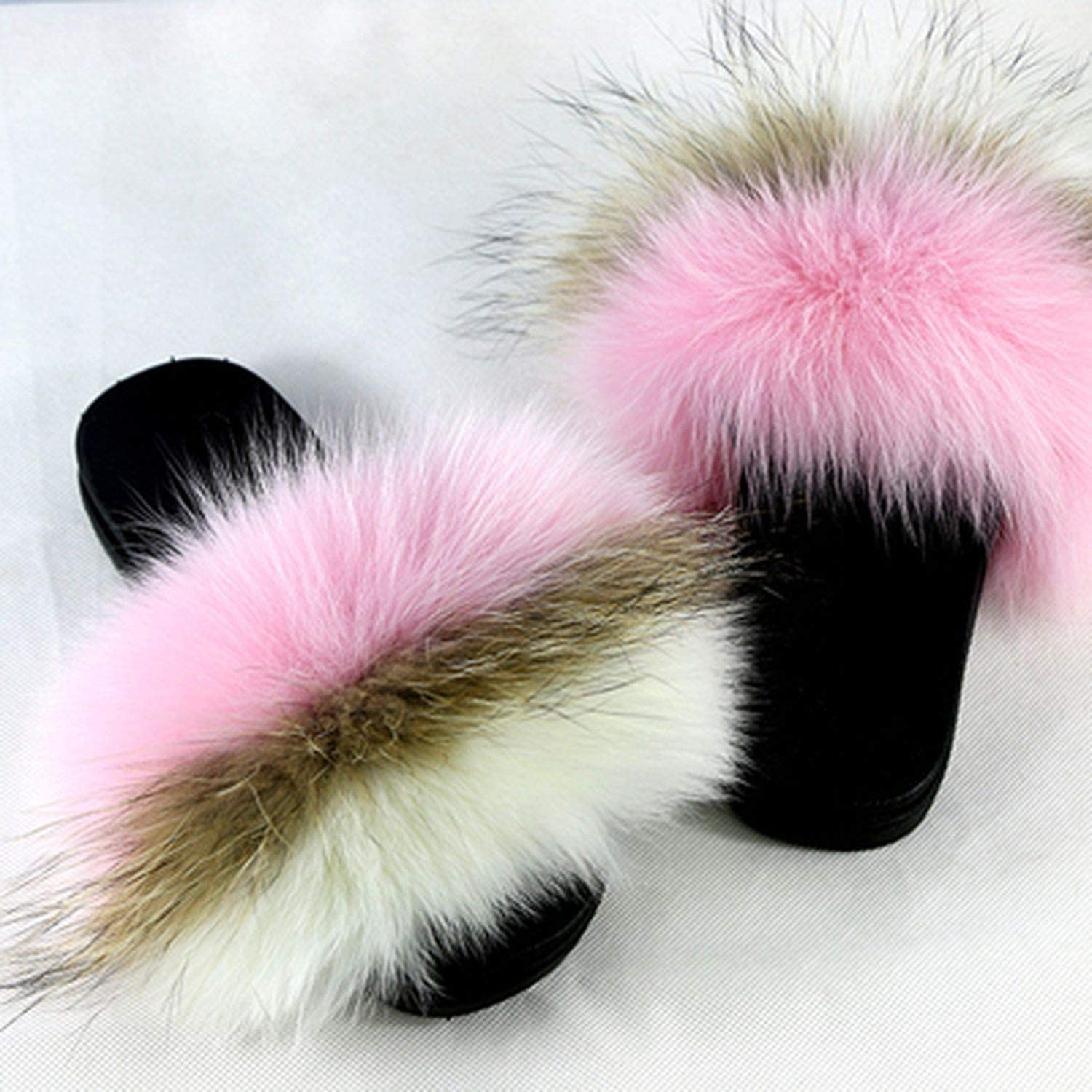 Blingbling-honored High end Fox Fur Slides 2019 Open Toe Sandals Fluffy Slippers Soft Fur Slippers Slip On Sliders Flip Flops Furry shoes Women