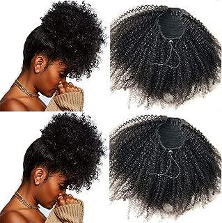Easen Hair 8inch 4B 4C Brazilian Virgin Hair Ponytail Kinky Curly Ponytail Curly Ponytail Human Hair Ponytail Natural Hair Ponytail Natural Color Hair Piece Ponytail For Women