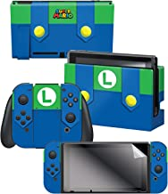 """Controller Gear Nintendo Switch Skin & Screen Protector Set, Officially Licensed By Nintendo - Super Mario Evergreen """"Luigi's Outfit"""" - Nintendo Switch"""
