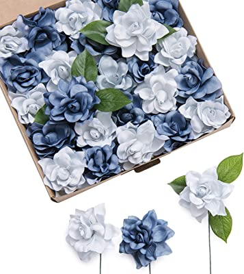 Ling's moment Artificial Flowers 25pcs Dusty Blue Shades Gardenia Flowers w/Stem for DIY Wedding Bouquets Centerpieces Arrangements Party Baby Shower Home Decorations (Dusty Blue Shades)