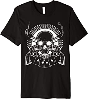 Gunpowder Smell Gun Lover Bullet Belt Skull & Cards Fun Gift Premium T-Shirt