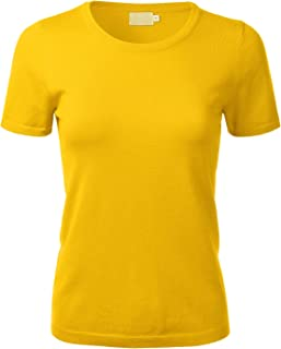FLORIA Women's Soft Basic Crew Neck Pullover Short Sleeve Knit Sweater (S-XL)