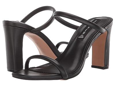 STEVEN NEW YORK Jersey Heeled Sandal (Black Leather) Women