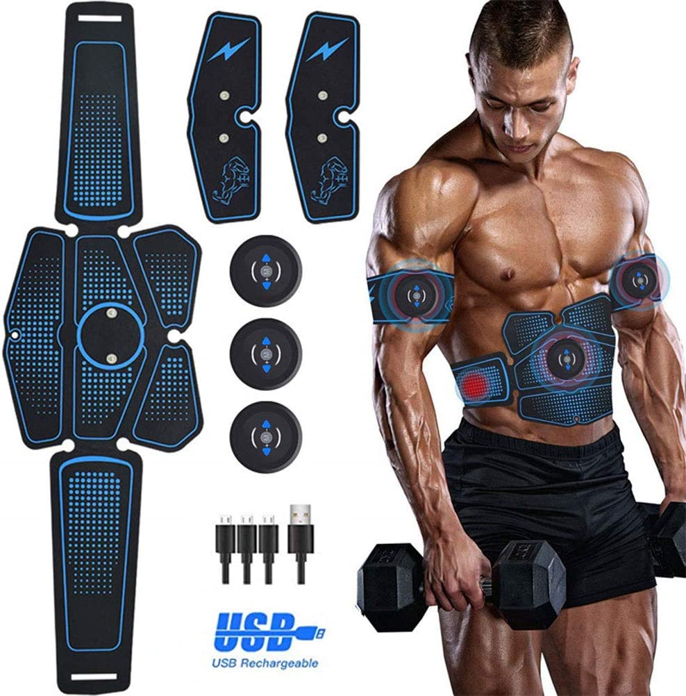ABS Trainer Fitness Training Gear Abdominal Muscles Ultimate Stimulator CaCaCook EMS Muscle Stimulator Rechargable Wireless EMS Electric Abdominal Arm Muscles Stimulator Exerciser
