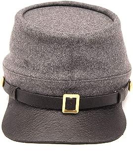 US Civil War CS Enlisted Officer Leather Peak Kepi