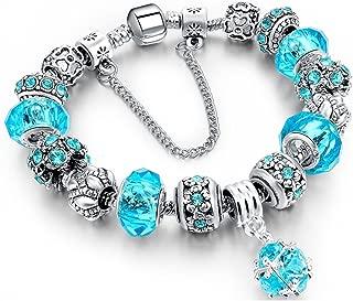 Charm Bracelet, Morenitor Sterling Silver Plated Snake Chain Handmade Carved Bead Bracelet Charms Bracelets Mother's Day Gift for Women, 19.5cm (Blue)