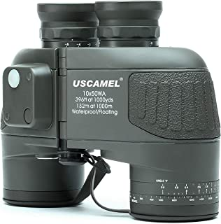 USCAMEL 10X50 Marine Military Binoculars for Adults, Waterproof Binoculars with Rangefinder Compass BAK4 Prism FMC Lens for Birdwatching Hunting Boating-Army Green