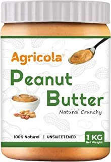 Agricola Natural Peanut Butter (Crunchy) | Unsweetened | Non GMO | Gluten Free | Vegan | Cholesterol Free (1kg)