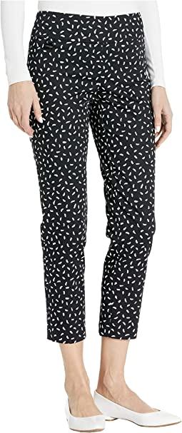 Jackson Dot Pull-On Ankle Pants with Back Slit