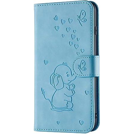 P40 Lite Handyhülle Kompatible Für Huawei P40 Lite Hülle Case Cover Leder Tasche 3d Elefant Karikatur Tier Flipcase Schutzhülle Handytasche Skin Ständer Klapphülle Schale Bumper Mädchen Blau Baby