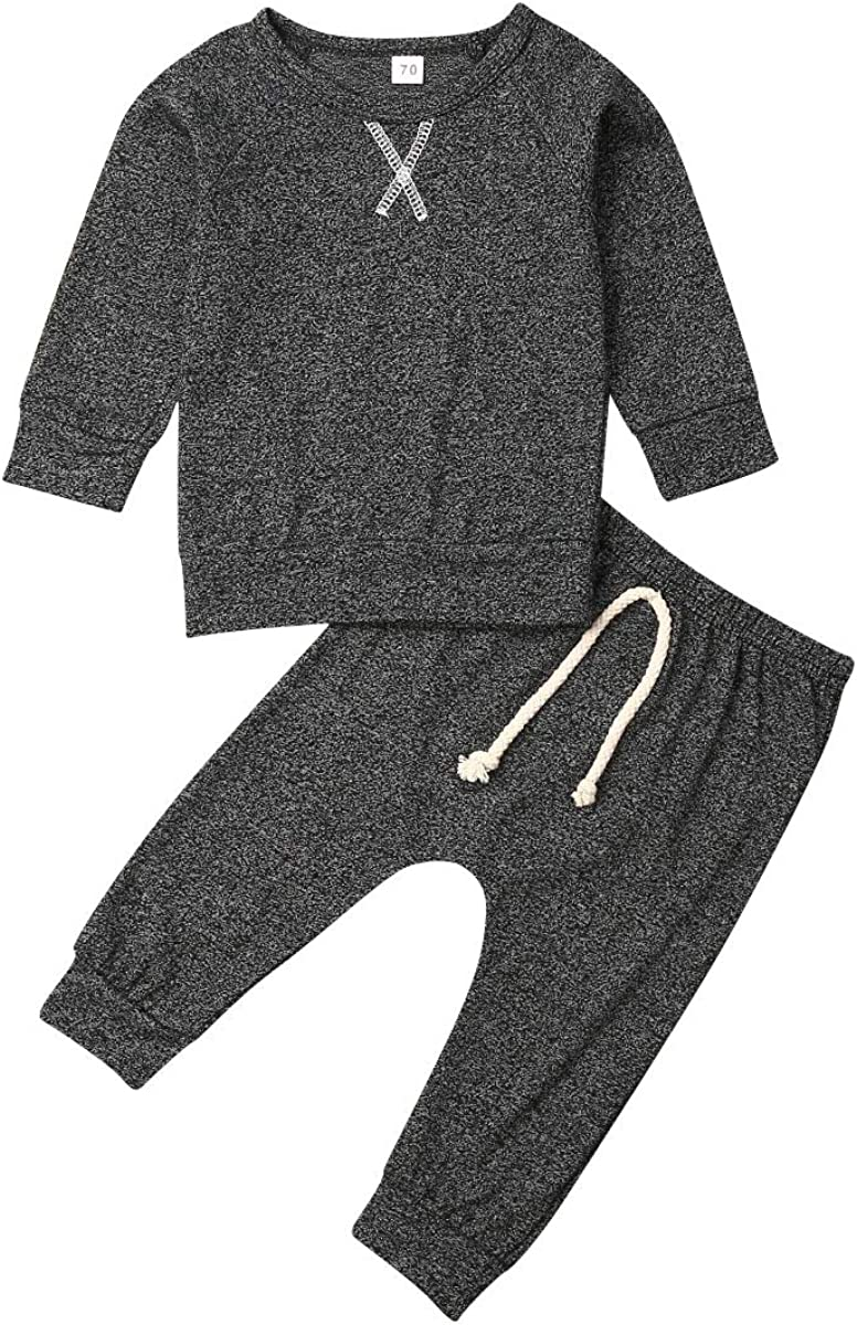 Koloyooya Baby Boys Girls Clothes 2PCS Outfit Set Long Sleeve Tops with Stripped Pants