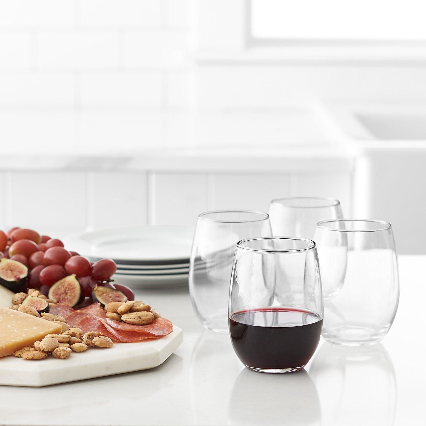 Amazon Basics Stemless Wine Glasses Set Of 4 15 Oz Wine Glasses