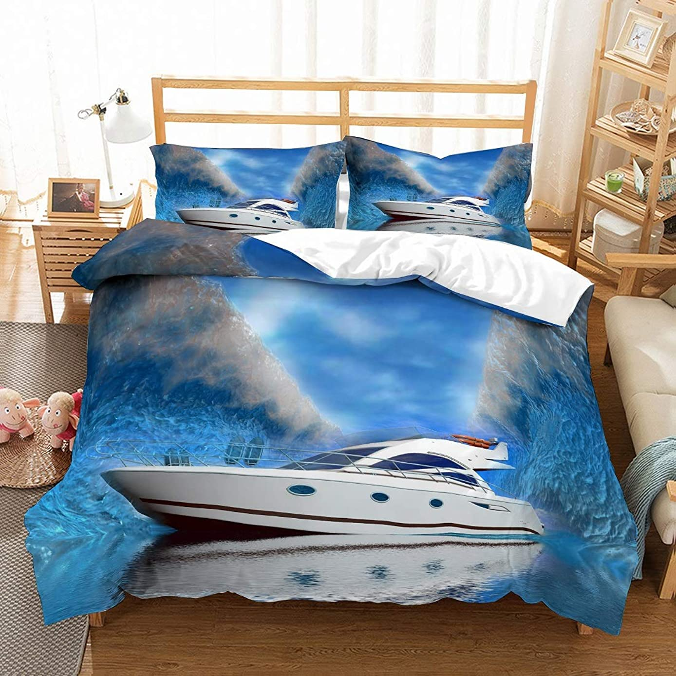 PATATINO MIO Boat Duvet Cover Set Queen Size 3D Show Boat Printed on Peaceful Ocean Big Waves Blue/White Bedding Set for Adults,Boys and Girls,3 Pieces with 2 Pillow Sham,No Comforter