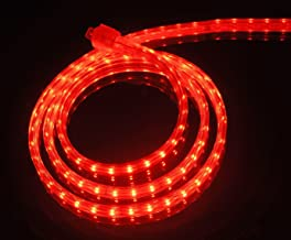 CBconcept UL Listed, 30 Feet, 3200 Lumen, Red, Dimmable, 110-120V AC Flexible Flat LED Strip Rope Light, 540 Units 3528 SMD LEDs, Indoor Outdoor Use, Accessories Included, Ready to use