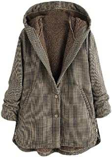 Womens Pockets Plaid Single Breasted Oversized Hoode Long Jacket with Pockets