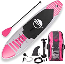 SereneLife Premium Inflatable Stand Up Paddle Board (6 Inches Thick) with SUP Accessories & Carry Bag | Wide Stance, Botto...