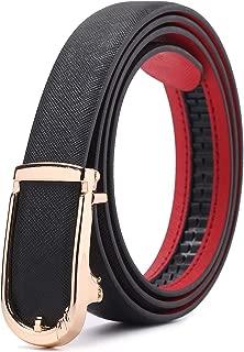 Women Adjustable Leather Waist Belt, Slide Ratchet Automatic Buckle Dress Belts for Jeans Pants with Alloy