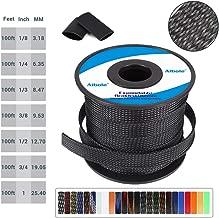 Flexo PET Expandable Braided Cable Sleeve 1/2 inch Braided Wire Loom, Cable Sleeving for HDMI Cable 100FT Automotive Wire,PureBlack