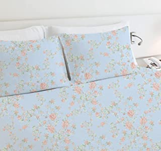 High Quality 400-Thread-Count 100% Cotton Sheets for Bed - 4-Piece Light Blue Floral Antique Rose King Sheet Set Long-Stap...