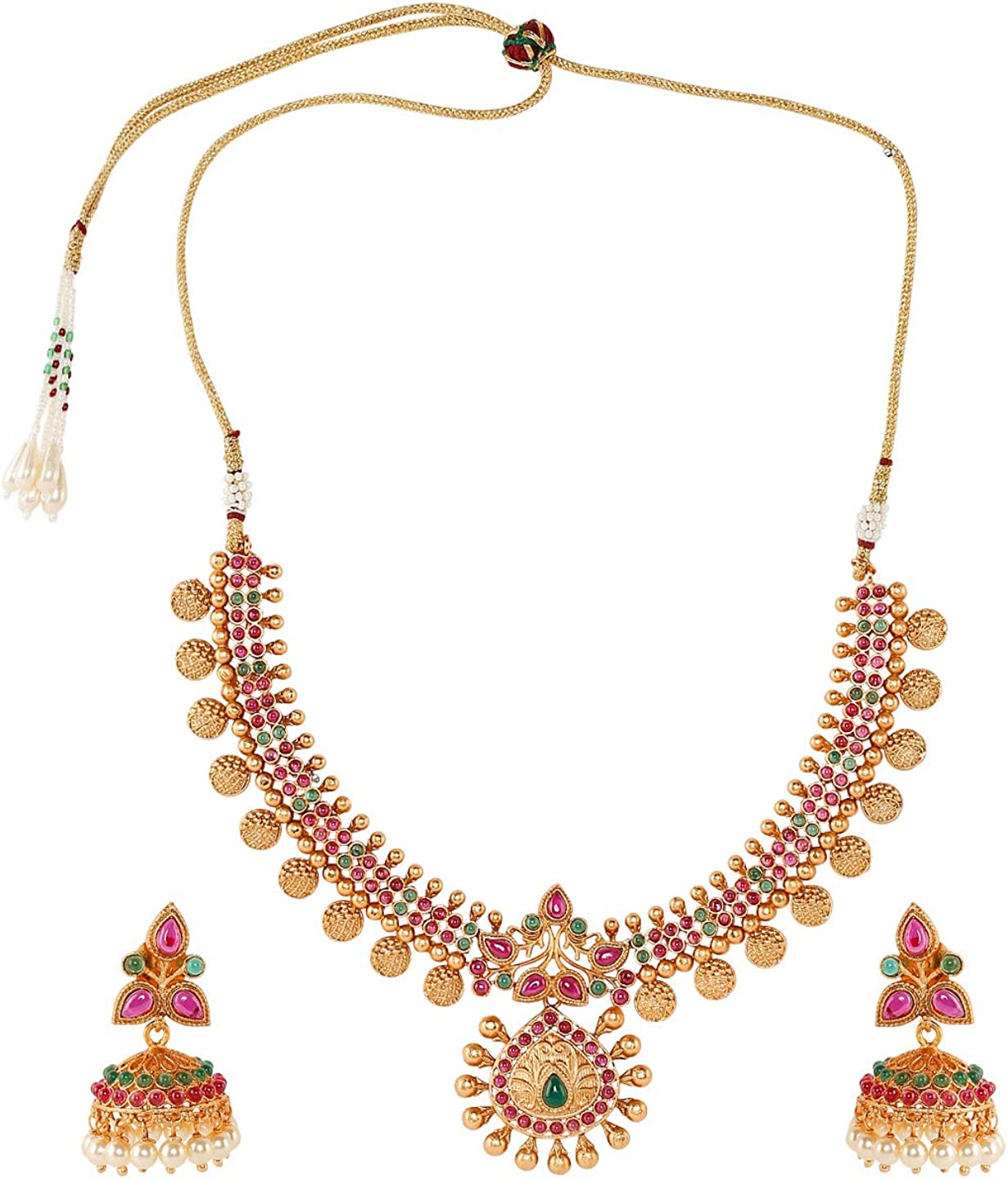 Bodha Handcrafted Antique Gold Plated Temple Jewellery Necklace with Matching Earring for Women (SJ_2804)