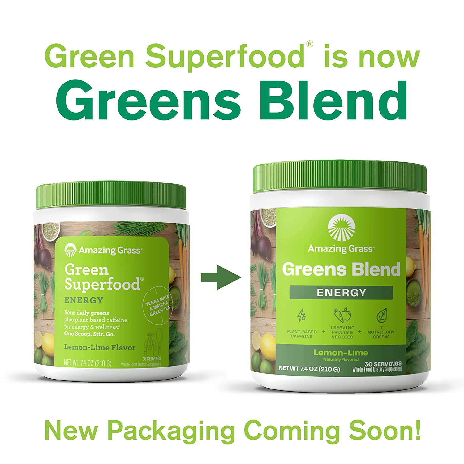 Amazing Grass Green Superfood Energy Super Greens Powder & Plant Based  Caffeine with Green Tea and Flax Seed, Nootropics Support, Lemon Lime, 8  ...