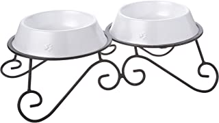 Platinum Pets 3-Cup Scroll Double Diner Stand with Two Bowls, Pearl White
