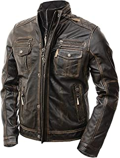 Abbraci Men's Motorcycle Biker Slim Fit Vintage Distressed Brown Cafe Racer Real Leather Jacket