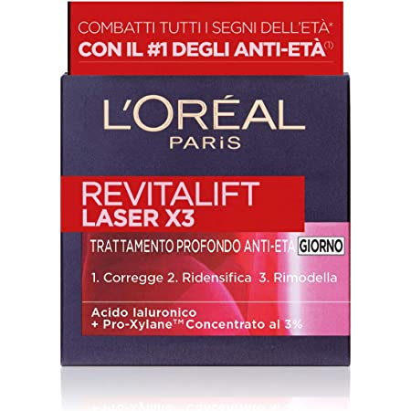 L'Oréal Paris Crema Viso Giorno Revitalift Laser X3, Azione Antirughe Anti-Etàcon Acido Ialuronico e Pro-Xylane, 50ml