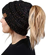 Funky Junque Women's Beanie Ponytail Messy Bun BeanieTail Multi Color Ribbed Hat Cap