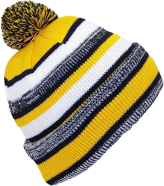 Best Winter Hats Striped Variegated Cuffed Hat W Pom (One Size) - Black gold